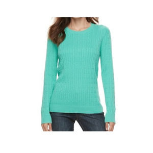New Cable Knit Long Sleeve Crew Neck Sweater